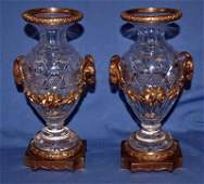 652A BACCARAT PAIR 19TH C BRONZE MOUNTED URNS