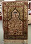 Antique Hereke Silk Rug with Gold Threading