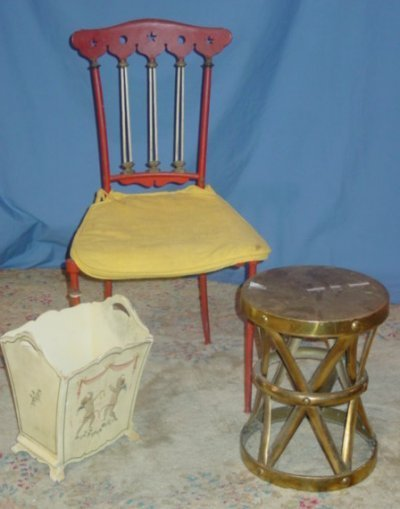 25: BRASS STOOL, DECORATED CHAIR & WASTE BASKET