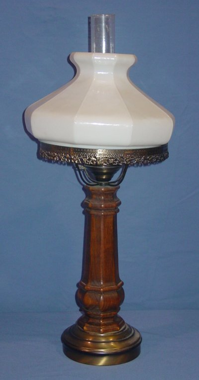 34: BRASS OIL LAMP WITH MILK GLASS SHADE