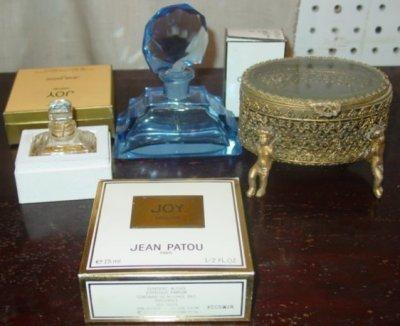 35: CZECHOSLAVAKIAN PERFUME BOTTLE & 2 JEWELRY BOXES
