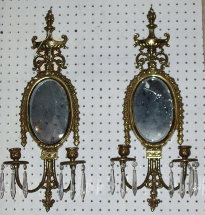 611: PAIR BRASS OVAL MIRRORED SCONCES