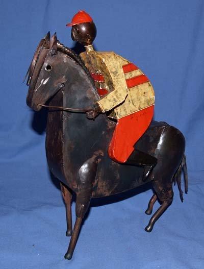 618: STEEL HORSE & RIDER SCULPTURE BY MANUEL FELGUEREZ