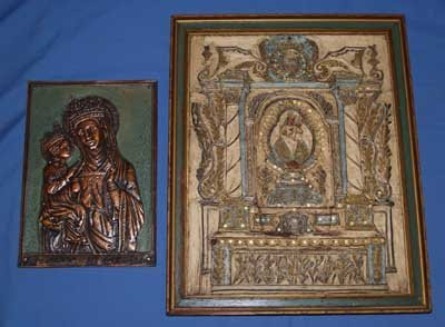 622: VICTORIAN FRAMED ICON & UNFRAMED METAL ICON