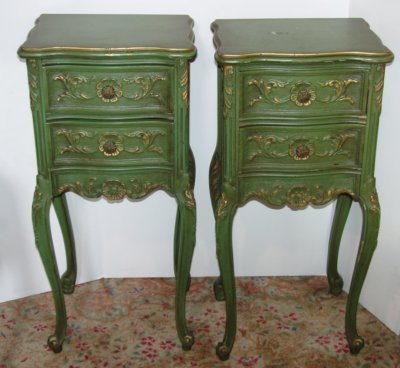 633: PAIR BELGIAN 2 DRAWER CARVED COMMODES