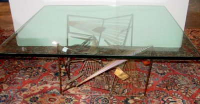 639: GLASS TOP COFFEE TABLE & COPPER BASE SIGNED SANDEL