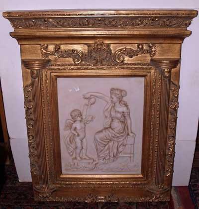 643: COMPOSITION ART PLAQUE OF WOMAN & CHILD