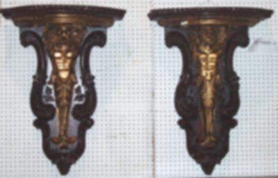 644: PAIR CARVED WOOD FIGURAL WALL BRACKETS