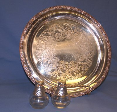 1: SILVER PLATE ROUND TRAY, PAIR OWL SALT & PEPPERS