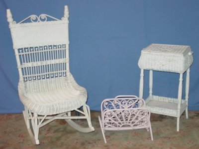 32: WICKER SEWING BOX, RACK, ROCKER