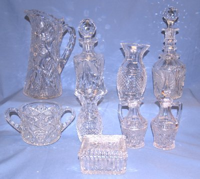 45: 9 PCS CRYSTAL & PRESSED GLASS
