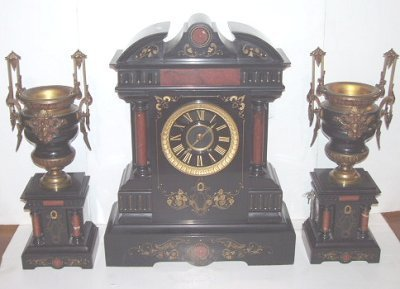 203A: 19TH C. 3 PC. MARBLE & BRONZE CLOCK SET