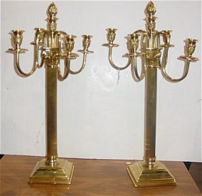 570: PAIR LATE 20TH C. 4 ARM BRASS FINISH CANDELABRAS