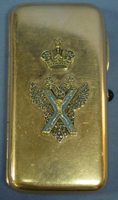 589: 19TH C. RUSSIAN LADIES GOLD JEWELED CIGARETTE CASE