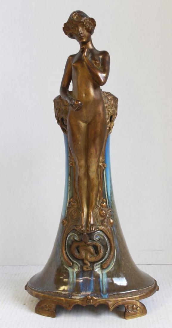 Paul Louchet Art Nouveau Earthenware & Bronze Vase