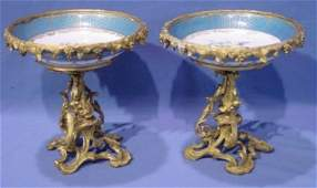 271 PAIR 19TH C RUSSIAN BRONZE  PORCELAIN COMPOTES