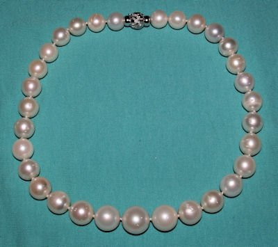 492: 14KT GOLD, DIAMOND & SOUTH SEA PEARL NECKLACE