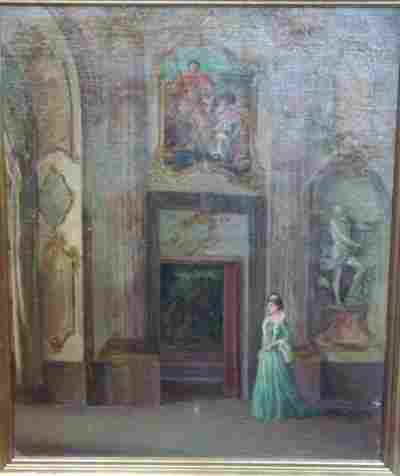19TH C. OIL PAINTING CANVAS FRENCH INTERIOR SCENE