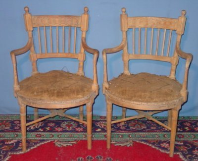 20: PAIR BLEACHED REGENCY ARM CHAIRS
