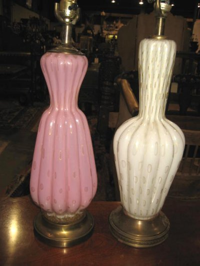 38: 2 VENETIAN GLASS LAMPS