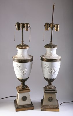 42: PAIR BISQUE & METAL CLASSICAL SCENIC LAMPS