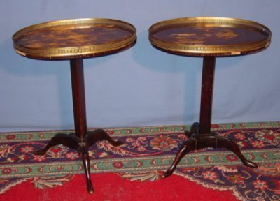 45: PAIR FRENCH OVAL TRIPOD STANDS WITH GALLERY TOP