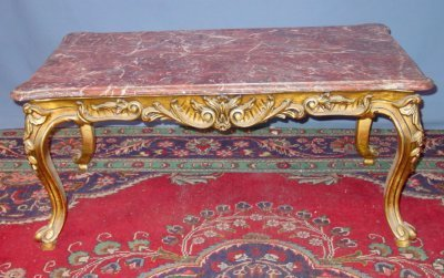 48: MARBLE TOP PAINT DECORATED FRENCH COFFEE TABLE