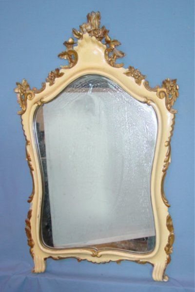 52: VENETIAN GILT & OFF WHITE FRAMED MIRROR