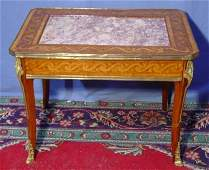 386 LOUIS XV MARBLE TOP MARQUETRY COFFEE TABLE