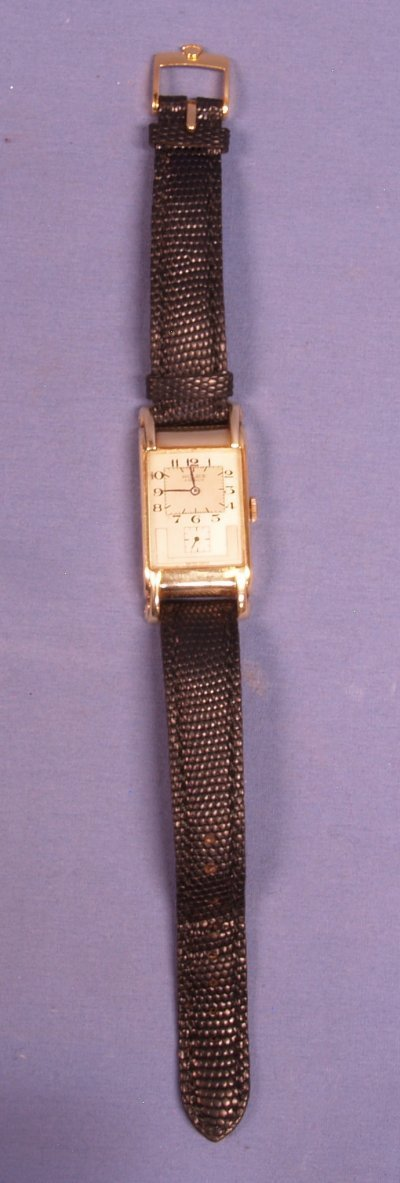 513: 14KT GOLD ROLEX PRINCE WITH LEATHER BAND