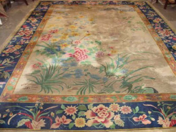 19: Art Deco Beige Chinese Rug Approx. 9' x 12'