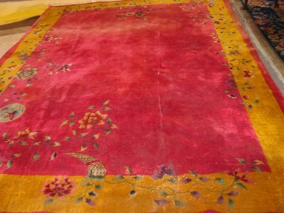 22: Art Deco Red Chinese Rug Approx. 9' x 12'