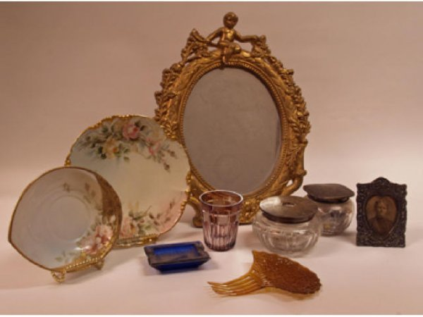 24: Group lot of sterling & crystal dresser items