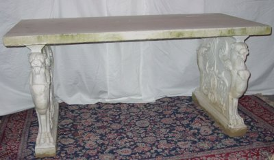 211: 19th C. Solid Marble Table w/Griffons