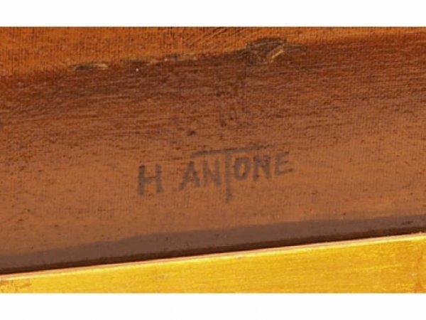 460: Gilt Framed Oil painting Canvas signed H. Antone - 3