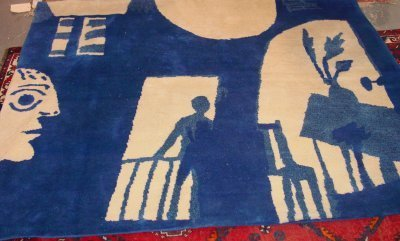 1174: Blue & Beige Picasso Design Wall Hang