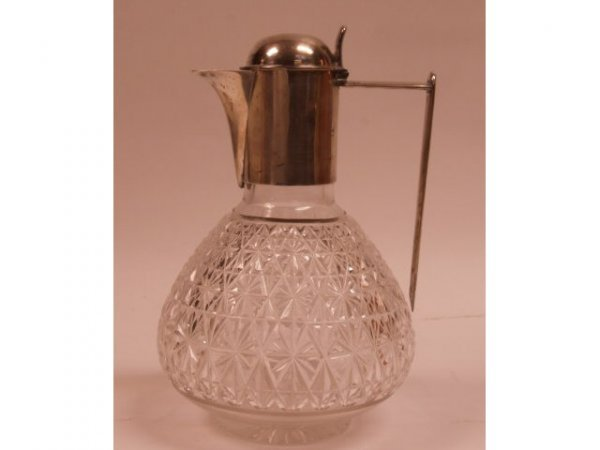 593: Victorian Sterling Silver & Cut Crystal Pitcher