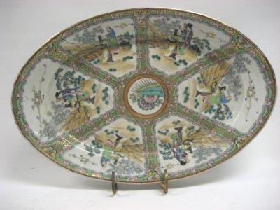 601: 19th C. Rose Medallion Platter Artist Signed