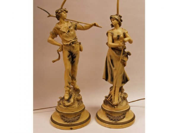 605: Pair White Metal Figural Lamps signed L & F Moreau