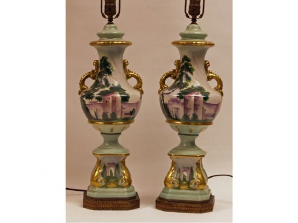 607: Pair Floral Painted Pottery Lamps Ca. 1930's