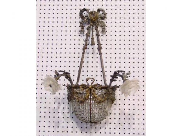 608: 19th C. Bronze Floral & Crystal 2 Armed Sconce