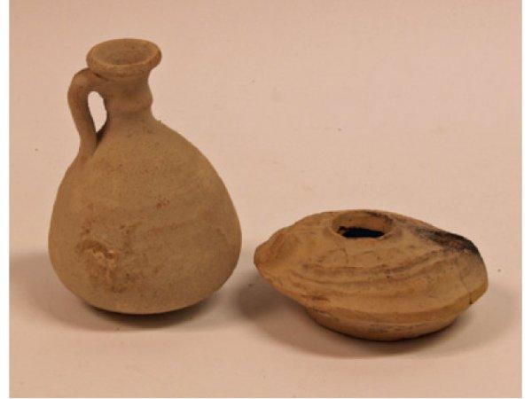 610: Terracotta Oil Lamp & Terracotta Ewer