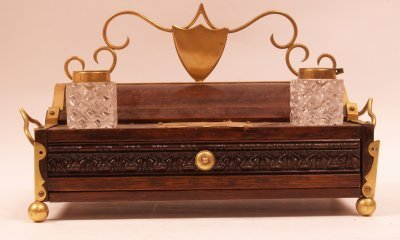 613: 19th C. Brass & Oak Inkwell with bottles