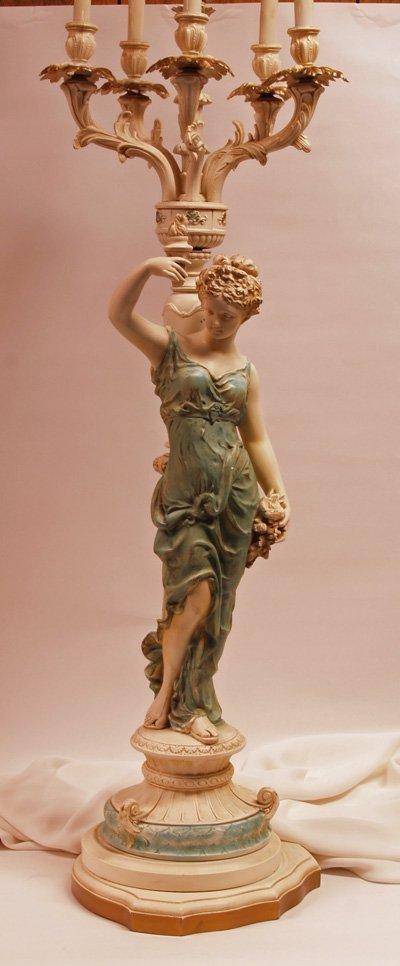 600: Plaster Figural Candelabra Mounted as Lamp