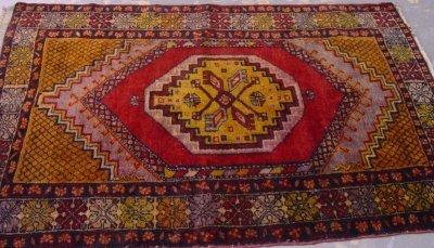 609: Caucasian Oriental Rug with Red Diamond Center