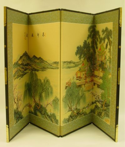613: 2 Four Panel Chinese Screens
