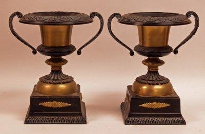 619: Pair Brass & Black Metal Coupes