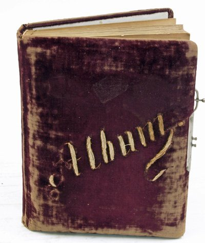 3: Mid-late 19th c. red velvet photo album