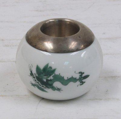 9: Meissen porcelain & silver candle holder