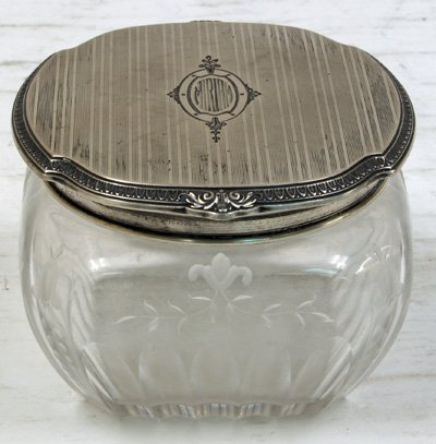 10: Sterling silver topped & crystal etched powder box
